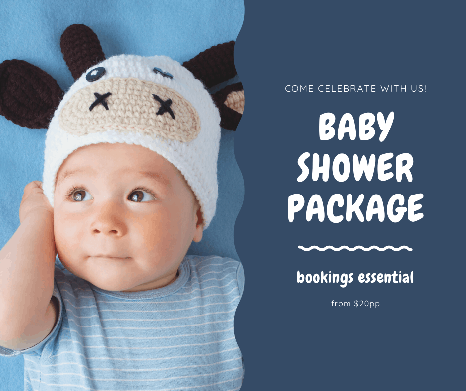 Baby in blue shirt and beanie, baby shower packages from $20pp