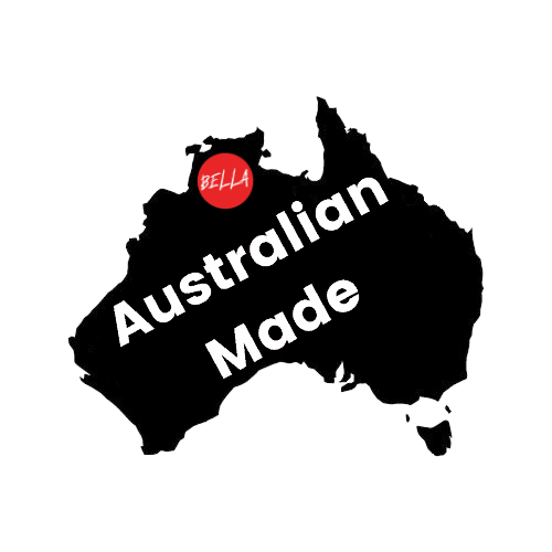 """Map outline of Australia, with """"Australian Made"""" written in the center."""