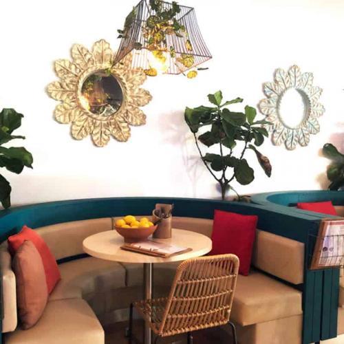 Indoor dining areas at Bella